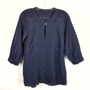 Theory Sz S 100% Silk 3/4 Sleeve Embroidered Top